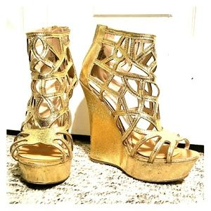 Glittery Gold Cage Wedges